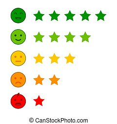 Emoji with star rating. Customer review. Feedback emoticon ...