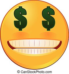 Emoji with US dollar eyes vector
