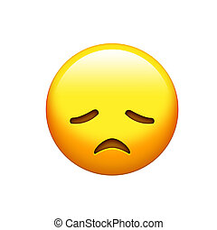 Emoji yellow disappointed, upset face and closing eyes icon...