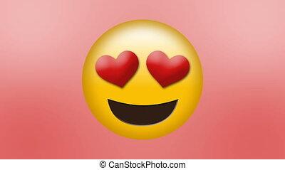 emoji, yeux, coeur, haut, aimé