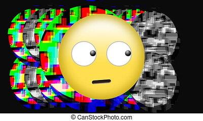 emoji, yeux, figure, statique, rouler