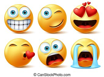 Emojis and emoticons face vector set. Emoticon of cute yellow faces in kissing, in love, crying, surprise.