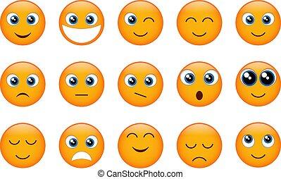 emojis, conjunto, amarillo