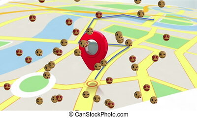 Animation of floating digital emoji icons over map with directions. Social networking global connections concept digitally generated image.
