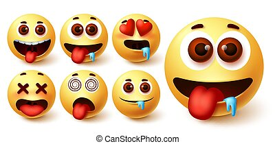 Emojis smiley emoticon vector set. Emoji avatar character face in hungry, silly, in love