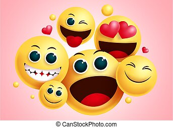 Emojis smiley group vector design. Smileys emoji group of friends with happy face and funny facial expression for friendship sign and symbol collection in red background.