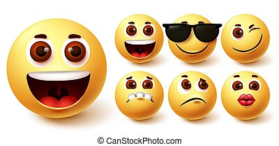 Emojis smiley vector set. Emoji smileys cute yellow face in different facial expressions