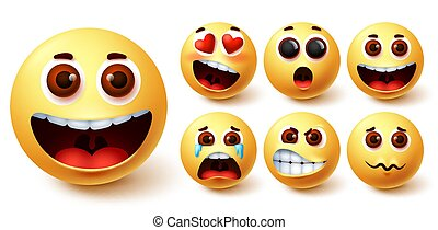Emojis smiley vector set. Emoji smileys cute yellow face with happy, crying, angry