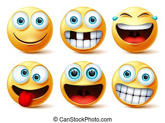 Emojis vector face set. Emoticons and emoji cute faces in crazy, funny, excited, laughing, and toothless.