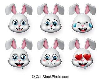 emoticon, állat, csinos, éhes, set., piruló, vagy, mood., nyuszi, vektor, arc, betű, üregi nyúl, szeret, bús, nevető, emojis