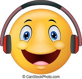 emoticon, écouteurs, dessin animé