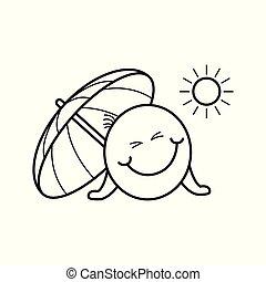 emoticon, été, vacation., smiley, pendant, plage, heureux