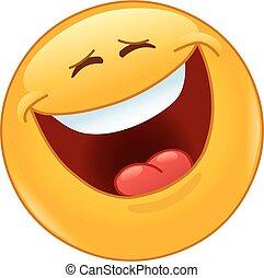 emoticon, ögon, skratta, stängd, högt, ute