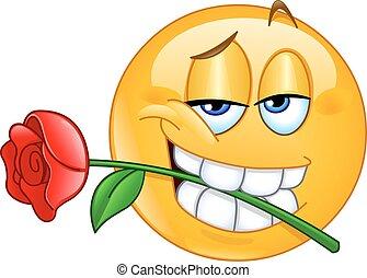 emoticon , με , τριαντάφυλλο , ανάμεσα , δόντια