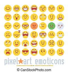 emoticon, かわいい, スタイル, 芸術, カラフルである, アイコン, set., graphicillustrations, 感情, 隔離された, バックグラウンド。, ベクトル, 様々, 白, 顔, ピクセル