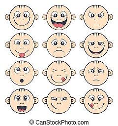 emoticon, かわいい, セット, smiley., 子供, 赤ん坊, 漫画