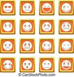 emoticon, オレンジ, セット, アイコン
