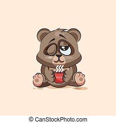 emoticon, コーヒー, ただ, カップ, ステッカー, 特徴, 隔離された, 熊, の上, 漫画, woke, emoji