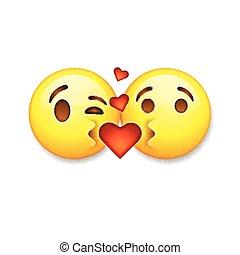 emoticon, シンボル, 愛, illustration., emoticons, バレンタイン, アイコン, ベクトル, 接吻, 日, emoji