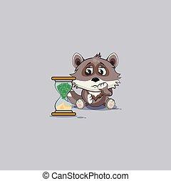 emoticon, ステッカー, オオカミの 幼いこども, 座る, 子犬, 砂時計