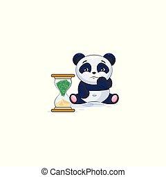 emoticon, ステッカー, 座る, パンダ, 砂時計