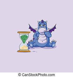 emoticon, ステッカー, 座る, 砂時計, ドラゴン