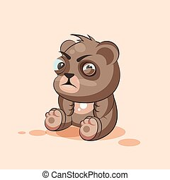 emoticon, ステッカー, 特徴, 隔離された, 熊, 顔つき, 疑いをもって, 斜視, 漫画, emoji