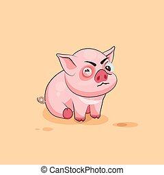 emoticon, ステッカー, 特徴, 隔離された, 豚, 顔つき, 疑いをもって, 斜視, 漫画, emoji