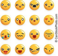emoticon, セット, アイコン, 隔離された, イラスト, 現実的, ベクトル, デザイン, 微笑, 3d