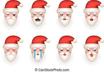 emoticon, セット, アイコン, claus, 隔離された, イラスト, クリスマス, ベクトル, デザイン, avatar, santa, 微笑, 漫画