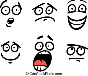 emoticon, セット, イラスト, 漫画, 感情, ∥あるいは∥