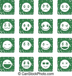 emoticon, セット, グランジ, アイコン