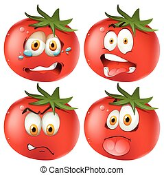 emoticon, セット, トマト