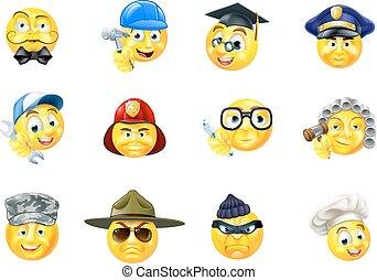 emoticon, セット, 仕事, 職業, 仕事, emoji