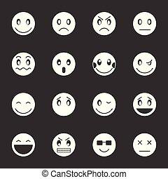 emoticon, セット, 灰色, ベクトル, アイコン