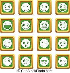 emoticon, セット, 緑, アイコン