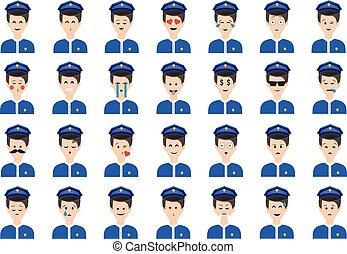 emoticon, セット, 警官, 隔離された, バックグラウンド。, ベクトル, 白