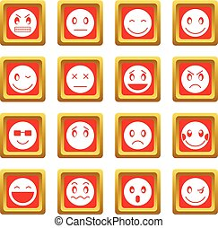 emoticon, セット, 赤, アイコン