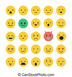 emoticon, セット, 隔離された, イラスト, 顔, ベクトル, 微笑, 白, アイコン