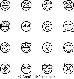 emoticon, セット, 隔離された, ベクトル, 背景, 白