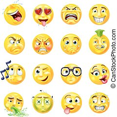 emoticon, セット, emoji