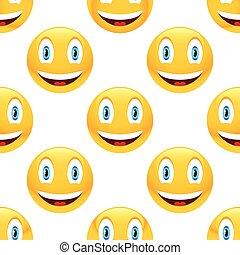 emoticon, パターン, 微笑