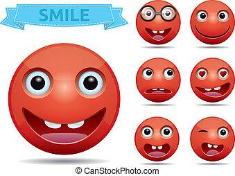 emoticon, ベクトル, smiley