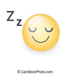 emoticon, ムード, アイコン, face., 眠い, 睡眠, アプリケーション, ベクトル, 圧縮された, チャット, 微笑, teeth.