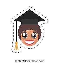 emoticon, 卒業生, 女性