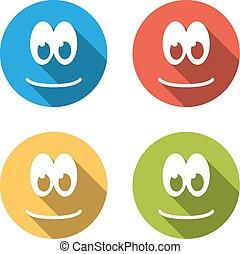 emoticon, 平ら, カラフルである, アイコン, 隔離された, 4, 微笑
