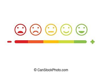 emoticon, 平ら, セット, フィードバック, デザイン, vector., 微笑, アイコン