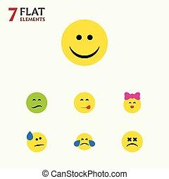 emoticon, 平ら, セット, elements., 顔, やぶにらみの目で, 涙, また, 他, ベクトル, 汗, 喜び, 寒い, 含む, 表現, objects., 微笑, アイコン