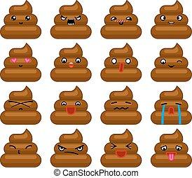 emoticon, 平ら, セット, poops, アイコン, 隔離された, イラスト, ベクトル, デザイン, avatar, 微笑
