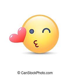 emoticon, 幸せ, まばたき, kiss., 投げる, smiley 顔, アプリケーション, heart., 情事, chat., emoji